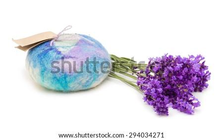 Lavender Merino Wool Felted Soap  - stock photo