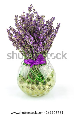 Lavender natural flowers in bowl with water balls isolated on white background - stock photo