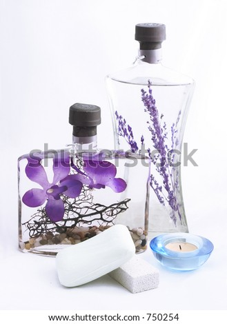 lavender oil, soap, candle on white background - stock photo