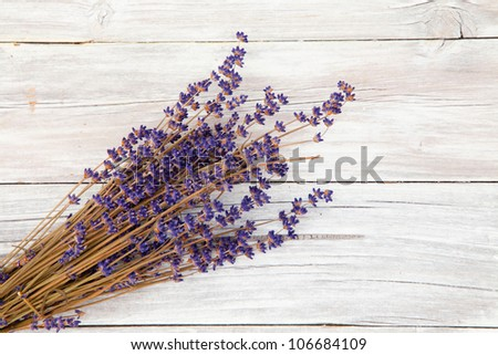 Lavender over wood - stock photo