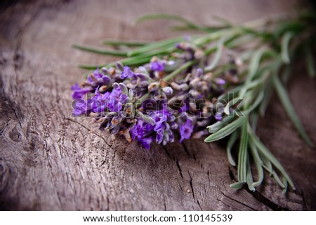 lavender over wooden background - stock photo