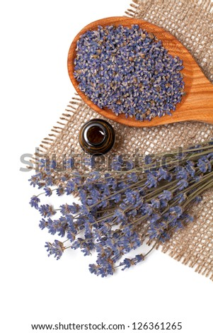 lavender petals and essential oil - stock photo