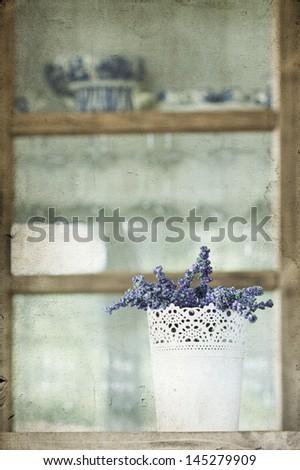 Lavender - rustic, vintage decoration - stock photo