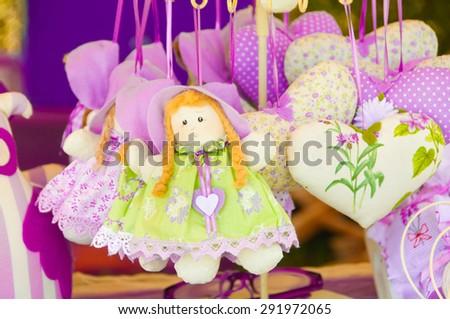 Lavender sachets on Provence market  in France - stock photo