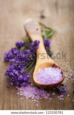 lavender salt for spa - stock photo