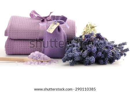 Lavender salt for spa on white background - stock photo