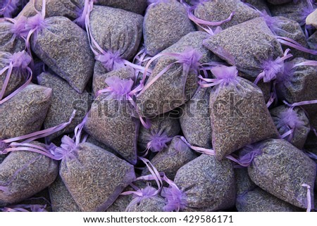 lavender scented bags at a market in the Provence, France