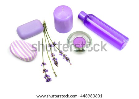 lavender, scented candles, soap and shampoo isolated on white background - stock photo