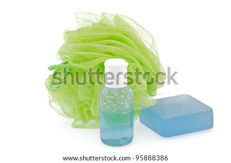Lavender shoewr gel with scrub and Shower Puff isolated on white background - stock photo