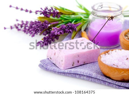 lavender soap, bath salt and candle isolated on white background - stock photo