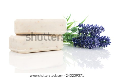 lavender soap on white background. - stock photo
