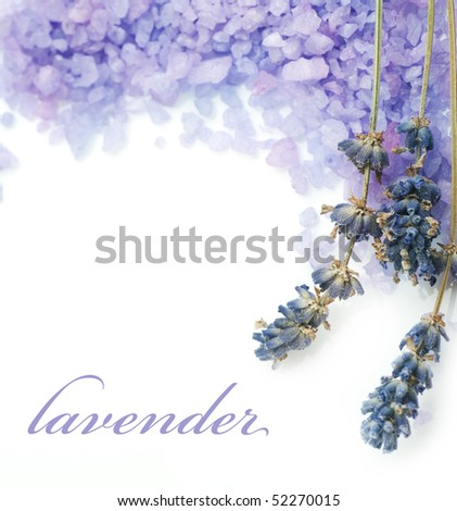 Lavender Spa border.Isolated on white - stock photo