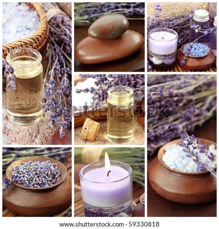 Lavender spa collage - stock photo