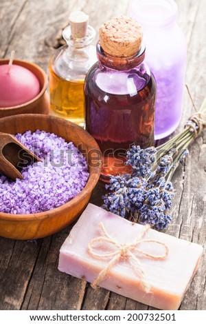 Lavender spa - essential oil, seasalt, flowers and handmade soap - stock photo