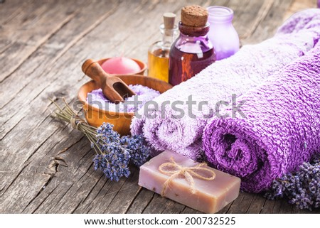 Lavender spa - essential oil, seasalt, violet towels and handmade soap