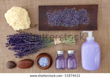 Lavender spa on brown background - stock photo