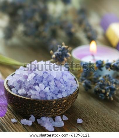 Lavender Spa Setting - stock photo
