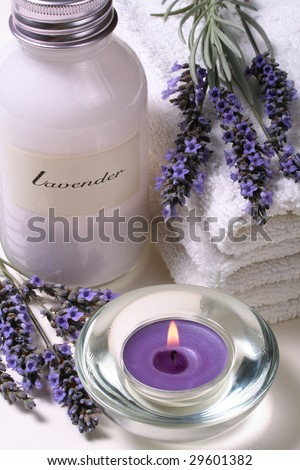 Lavender spa, some objects of relaxation and body treatment - stock photo