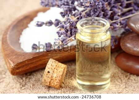 Lavender spa with essential oil - stock photo