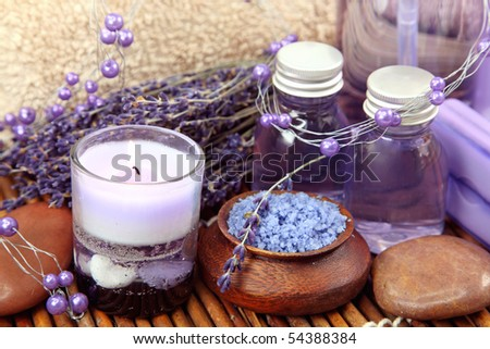Lavender spa with sea salt and dried lavender - stock photo