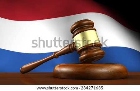 Law and justice of Netherlands concept with a 3d rendering of a gavel on a wooden desktop and the Dutch flag on background. - stock photo