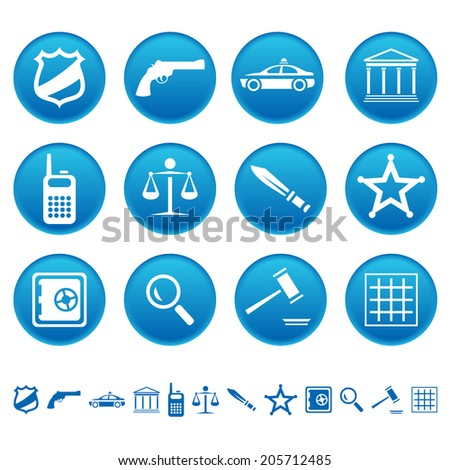 Law and order icons - stock photo