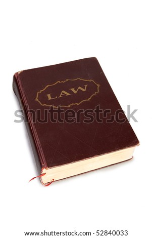 Law book on white background - stock photo