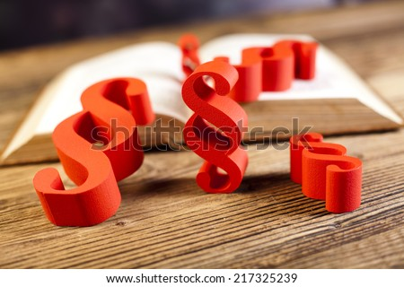 Law book with paragraphs  - stock photo