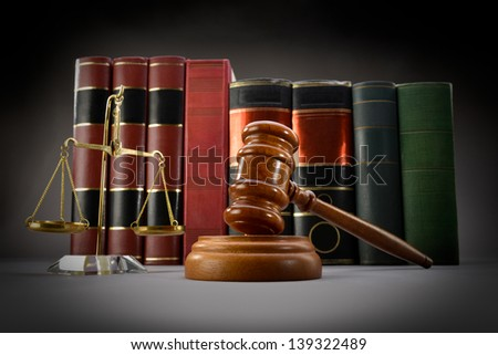 Law Books and Symbols - stock photo