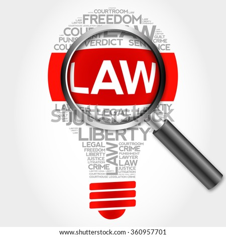 Law bulb word cloud with magnifying glass, business concept - stock photo