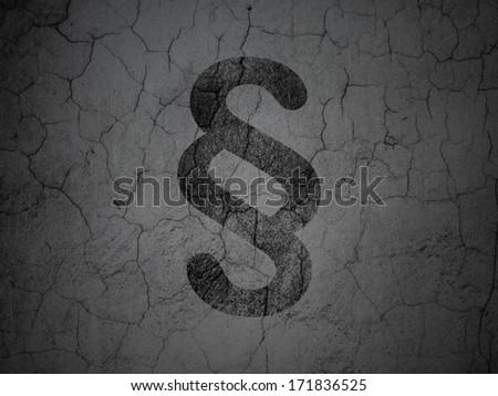 Law concept: Black Paragraph on grunge textured concrete wall background, 3d render - stock photo