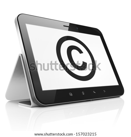 Law concept: black tablet pc computer with Copyright icon on display. Modern portable touch pad on White background, 3d render - stock photo