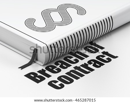 Law concept: closed book with Black Paragraph icon and text Breach Of Contract on floor, white background, 3D rendering
