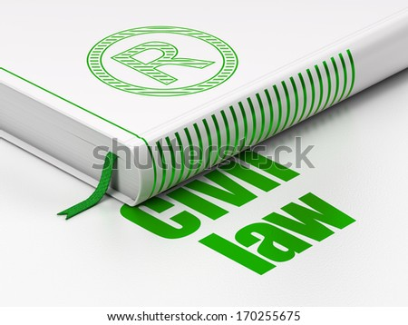 ... Green Registered icon and text Civil Law on floor, white background