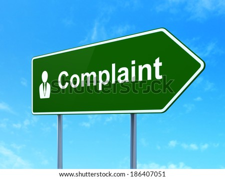 Law concept: Complaint and Business Man icon on green road (highway) sign, clear blue sky background, 3d render - stock photo