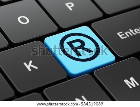 Law concept: computer keyboard with Registered icon on enter button background, 3D rendering