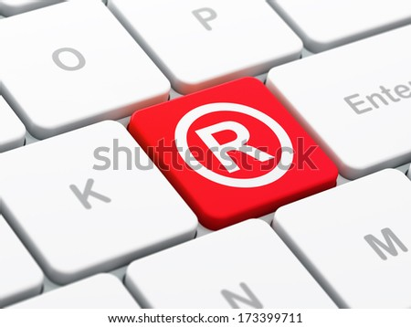 Law concept: computer keyboard with Registered icon on enter button background, selected focus, 3d render - stock photo