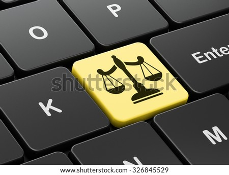 Law concept: computer keyboard with Scales icon on enter button background, 3d render - stock photo