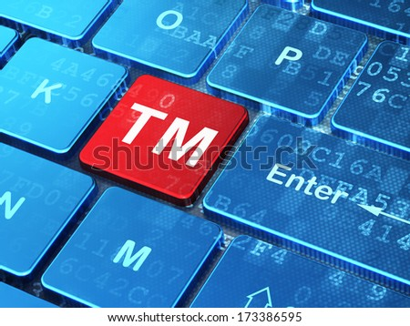Law concept: computer keyboard with Trademark icon on enter button background, 3d render - stock photo