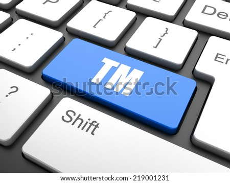 Law concept: computer keyboard with Trademark icon on enter button background, selected focus, 3d render - stock photo