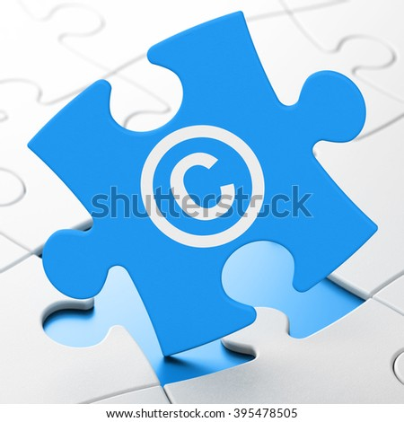 Law concept: Copyright on puzzle background - stock photo
