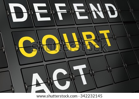 Law concept: Court on airport board background, 3d render