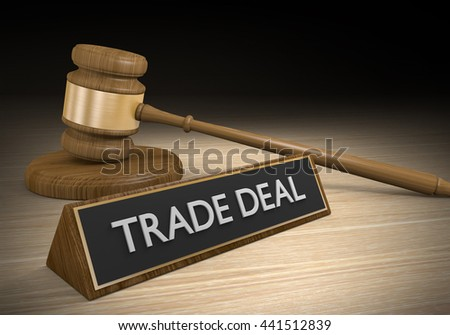 Law concept for legal challenges to foreign trade deals, 3D rendering