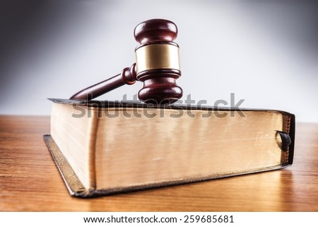 Law, concept, gavel. - stock photo
