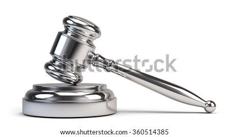 Law concept - Golden judge gavel isolated on white - stock photo
