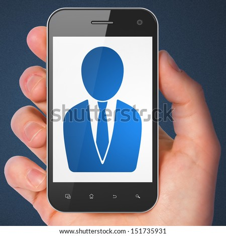 Law concept: hand holding smartphone with Business Man on display. Mobile smart phone in hand on Blue background, 3d render - stock photo