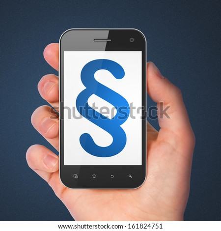 Law concept: hand holding smartphone with Paragraph on display. Mobile smart phone on Blue background, 3d render - stock photo
