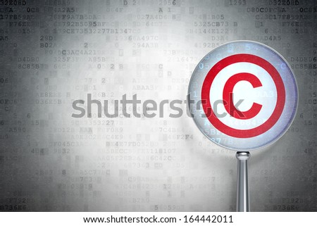 Law concept: magnifying optical glass with Copyright icon on digital background, empty copyspace for card, text, advertising, 3d render