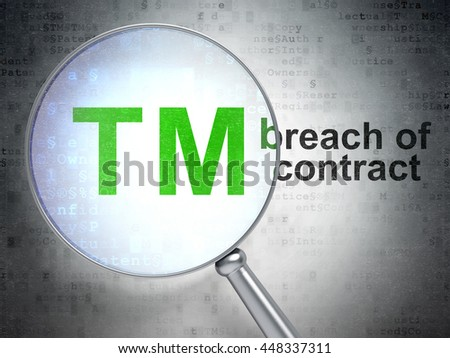 Law concept: magnifying optical glass with Trademark icon and Breach Of Contract word on digital background, 3D rendering - stock photo