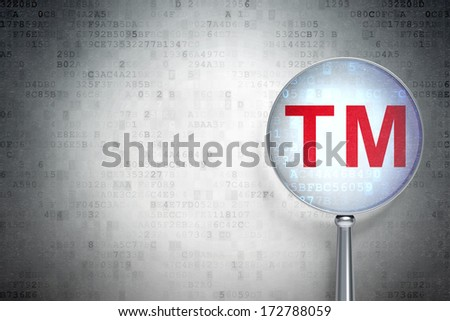 Law concept: magnifying optical glass with Trademark icon on digital background, empty copyspace for card, text, advertising, 3d render - stock photo